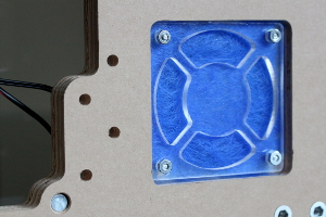 View of the fan filter area on the bottom of the case