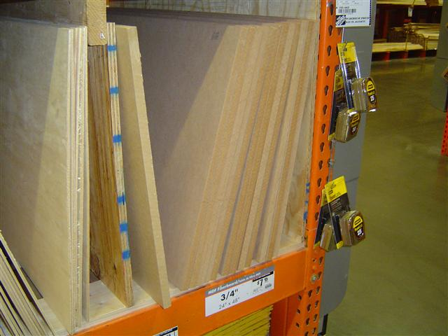 The stack of MDF at the home improvement store measuring 2x4 feet and 3/4 inch thickness
